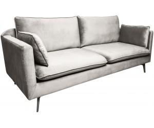Canapé Famous 210cm velours gris argent