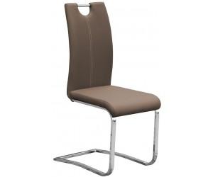 Chaise de salle à manger design en PU et pieds chromé IDALGO