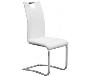 Chaise de salle à manger design en PU et pieds chromé blanc IDALGO