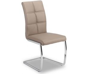 Chaise de salle à manger design en PU et pieds chromé taupe ANTIGO