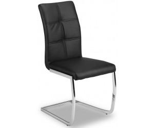 Chaise de salle à manger design en PU et pieds chromé noir ANTIGO