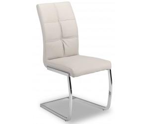 Chaise de salle à manger design en PU et pieds chromé gris ANTIGO