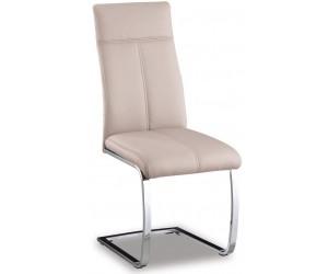 Chaise de salle à manger design en PU et pieds chromé cappuccino EDUARDO