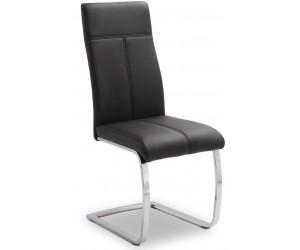 Chaise de salle à manger design en PU et pieds chromé noir EDUARDO