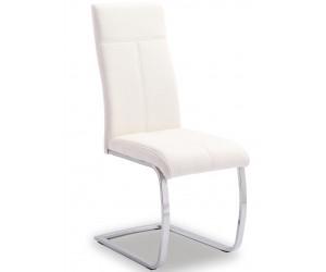 Chaise de salle à manger design en PU et pieds chromé blanc EDUARDO