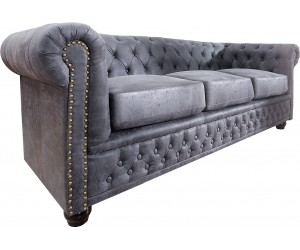 Canapé Chesterfield 3er aspect gris antique