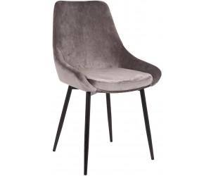 Chaise de salle à manger cuisine design gris velours BRIT