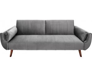 Canapé-lit Divani II 215cm velours gris argenté