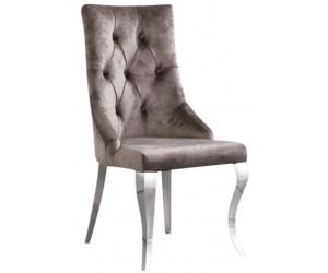 Chaises design capitonné avec pied baroque en acier inoxydable poli et recouvrement en velours taupe avec anneau BARLON