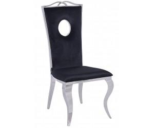 Chaises design pied baroque en acier inoxydable poli et recouvrement en velours noir REMONE
