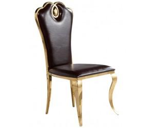 Chaises design pied baroque en inoxydable GOLD poli et recouvrement en simili cuir noir LIMONE