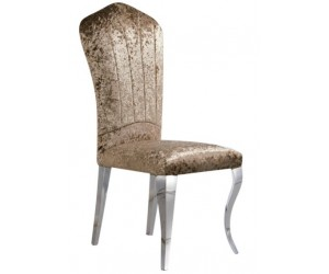 Chaises design pied baroque en inoxydable poli et recouvrement en tissu beige LEYLAC
