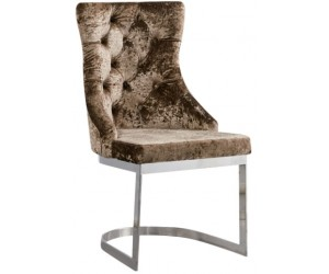 Chaises design en inoxydable poli et recouvrement en tissu beige LEYLAC