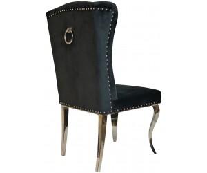 Chaises design capitonné avec pied baroque en acier inoxydable poli en velours noir avec anneau sur le dossier ELIPSE