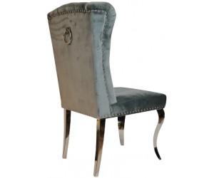 Chaises design capitonné avec pied baroque en acier inoxydable poli en velours gris avec anneau sur le dossier ELIPSE