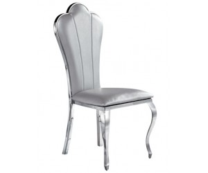 Chaises design pied baroque en inoxydable poli gris ZITA