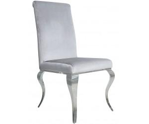 Chaises design pied baroque en inoxydable poli gris SIESTA