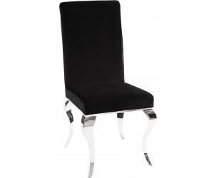 Chaises design pied baroque en inoxydable poli noir SIESTA