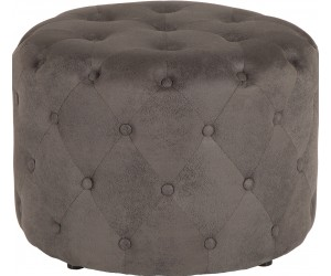 Pouf chesterfield 60cm gris antique rond