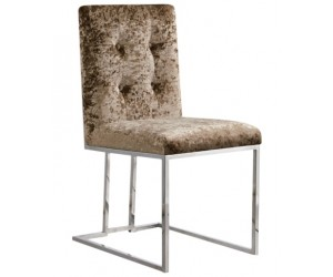 Chaises design en inoxydable poli et recouvrement en tissu beige MAXDIVANI