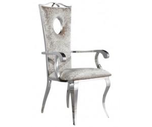 Fauteuille chaises design pied baroque en acier inoxydable poli en velours gris ELODILUX