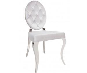 Chaises design pied baroque en acier inoxydable poli et recouvrement en velours gris BARONELI