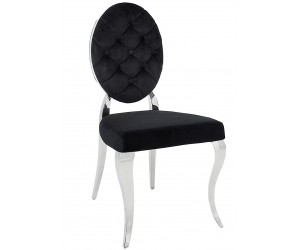 Chaises design pied baroque en acier inoxydable poli et recouvrement en velours noir BARONELI