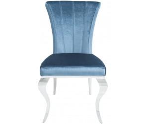 Chaise de salle a manger design pied baroque en acier inoxydable poli et recouvrement en velours blue BARBARA