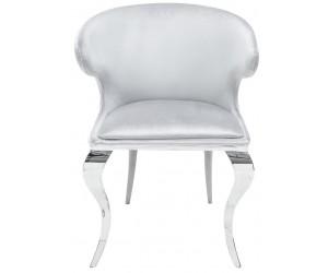 Fauteuille avec accoudoirdesign pied baroque en acier inoxydable poli et recouvrement en velours gris ROCOCO