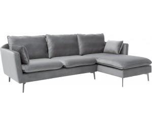Canapé d'angle Famous velours gris argent