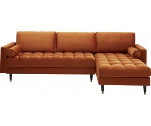 Canapé d'angle Cozy Velvet velours orange