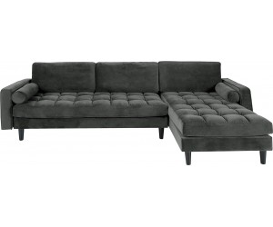 Canapé d'angle Cozy Velvet velours gris