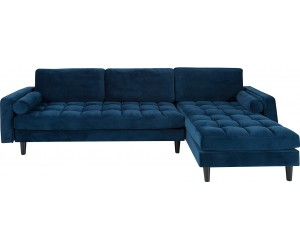 Canapé d'angle Cozy Velvet velours bleu foncé