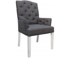 Fauteuille chaise capitonnée avec accoudoirs gris SCOTTY