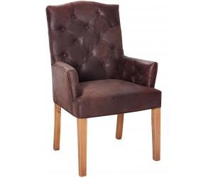 Fauteuille chaise capitonnée avec accoudoirs café antique SCOTTY