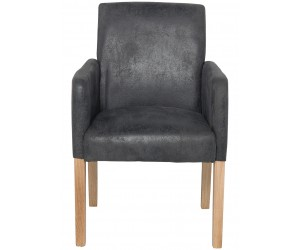 Fauteuille chaise avec accoudoirs microfibre gris VALETTE