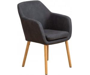 Fauteuille chaise avec accoudoirs microfibre gris VALENCO