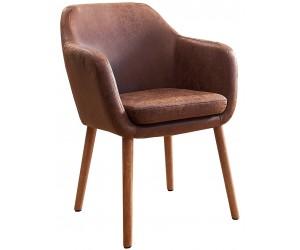 Fauteuille chaise avec accoudoirs microfibre brun VALENCO