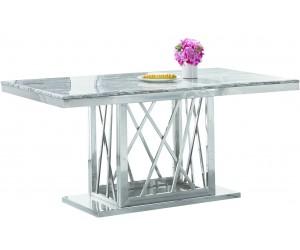 Table de salle à manger ultra design en acier inoxydable poli et plateau au choix CUSTER