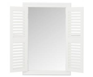 Miroir + 2 Volets Bois/Verre Blanc Large
