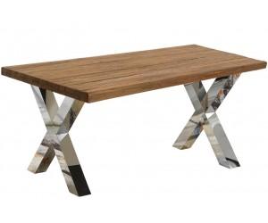 Table de salle à manger ultra design en acier inoxydable poli et plateau au choix BOOMST