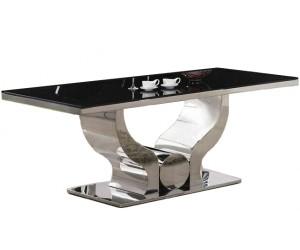 Table de salle à manger ultra design en acier inoxydable poli et plateau au choix CHANEL