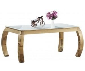 Table de salle à manger ultra design en acier inoxydable gold et plateau au choix CARRARA