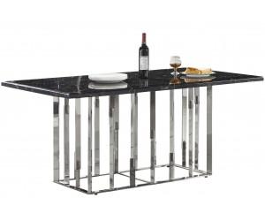 Table de salle à manger ultra design en acier inoxydable poli et plateau au choix ROBERTO