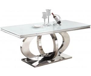 Table de salle à manger ultra design en acier inoxydable gold et plateau au choix YVESSAINT