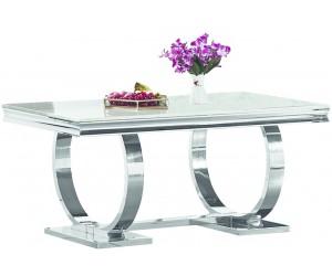 Table de salle à manger ultra design en acier inoxydable poli et plateau au choix GUCCI