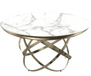 Table de salle à manger rond ultra design en acier inoxydable gold et plateau au choix CALIMERA