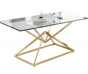 Table de salle à manger ultra design en acier inoxydable gold et plateau au choix LUVITTON