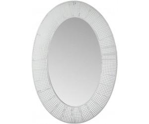 Miroir Ovale Trou Metal/Verre Blanc Antique