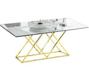Table de salle à manger ultra design en acier inoxydable gold et vitre IDEA
